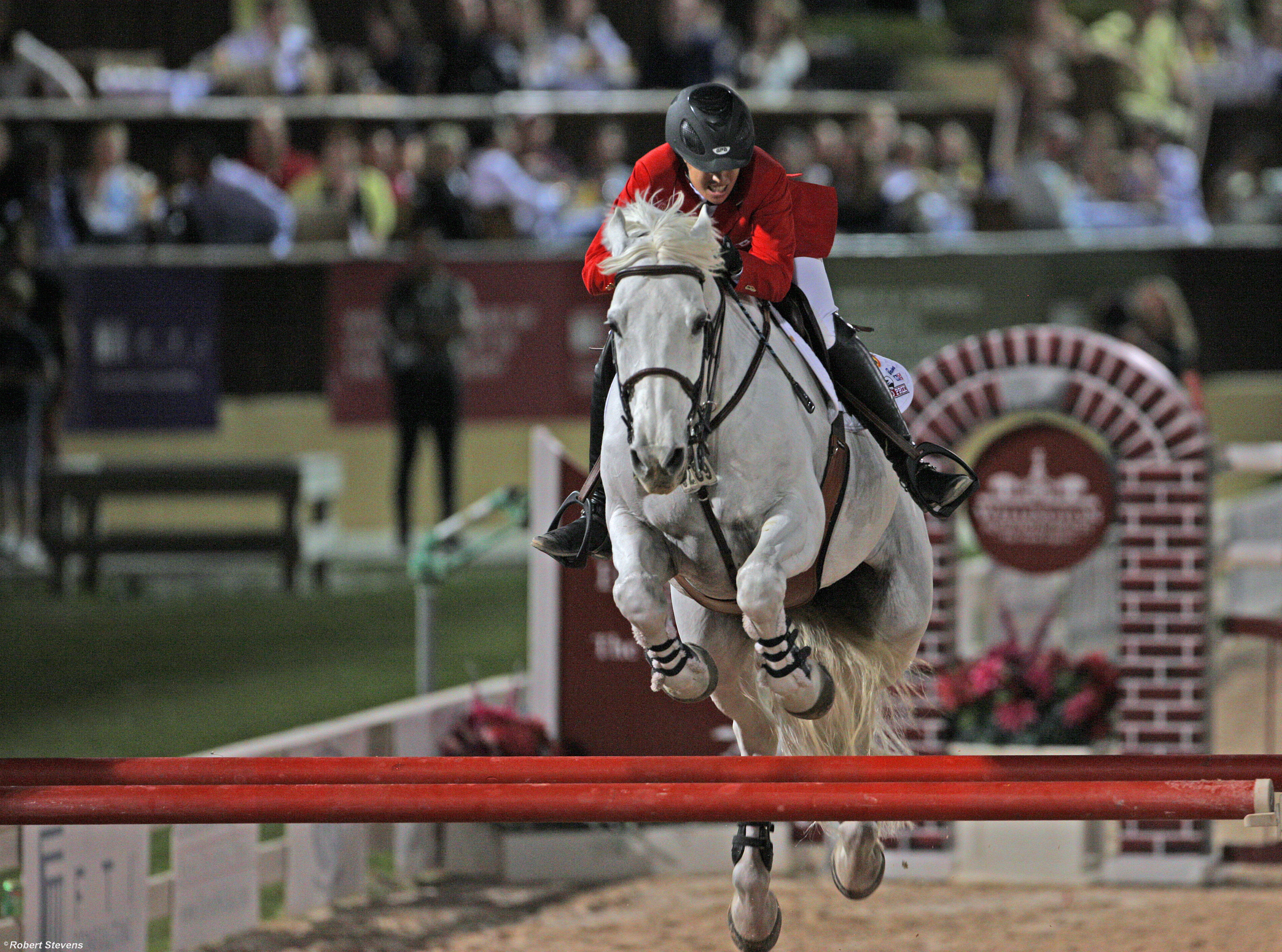 White horse with rider jumps obstacle in equestrian competition