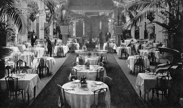1920s Palm Beach restaurant dining room with empty tables and palm trees