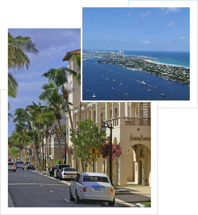 Two Pictures Overlap. First picture is a sunny day with white clouds. View is Neiman Marcus on Worth Ave with palm trees jutting out. Second Picture is a clear sky overlooking view of Palm Beach Island, buildings stretch high in the background and sailboats fill the bay.