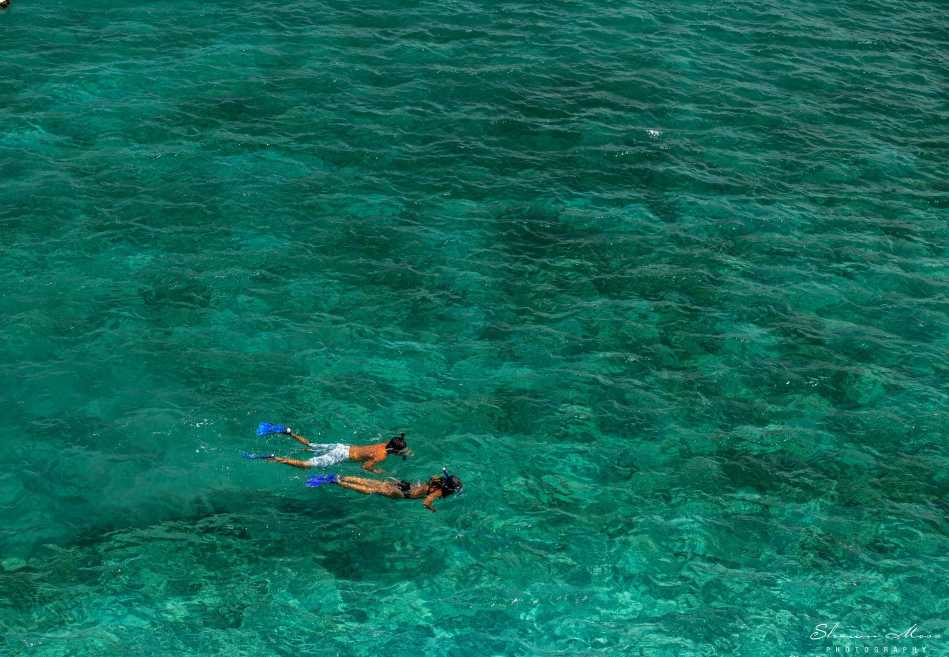 Two snorkelers in aqua green water
