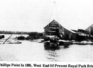 Black and white photo of boatyard on Lake Worth in West Palm Beach 1895