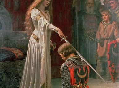 Beautiful young medieval queen stands at throne with sword knighting kneeling soldier