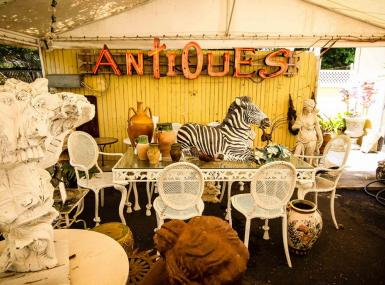 Collection of antiques from Antique Row shop in West Palm Beach