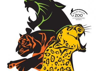 The zoo's Big Cat Race series logo, featuring fierce woodblock illustration of a jaguar, panther and tiger