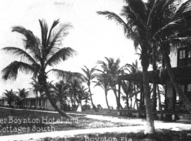 Black and white photo of Boynton Hotel with palm trees in 1890's
