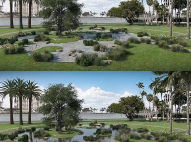 Green lawn overlooking lake with tidal garden of trees and plants in center before tide garden surrounded with gravel and after a tide floods it with water