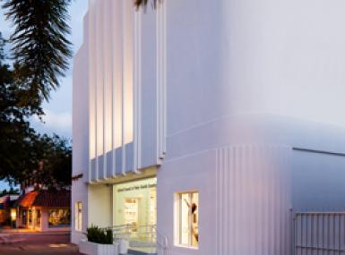White Art Deco Facade of Robert M. Montgomery Jr. Building in downtown Lake Worth Florida