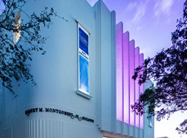 Art deco building lit purple under sunset sky