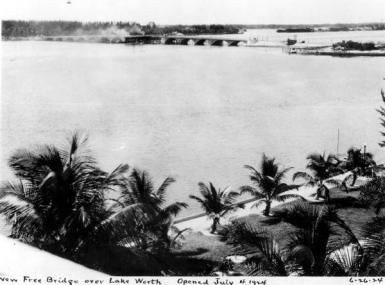 Black and white photo of 1920s bridge from West Palm Beach to island of Palm Beach