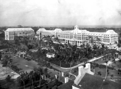 Aerial view of Hotel Royal Poinciana in Palm Beach circa 1920's