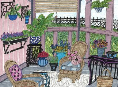 Drawing of pink porch with wicker furniture by Joan Eiley