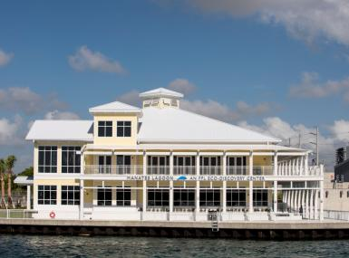 The two-story Key West-style Manatee Lagoon building along the Intracoastal Waterway