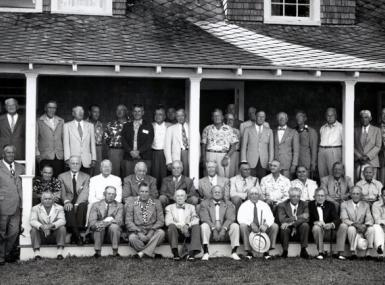Several dozen members of the 1949 Old Guard Society gathered for a photograph