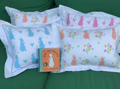 Handmade baby pillows with iconic Pat the Bunny motif with copy of Pat the Bunny childrens' book