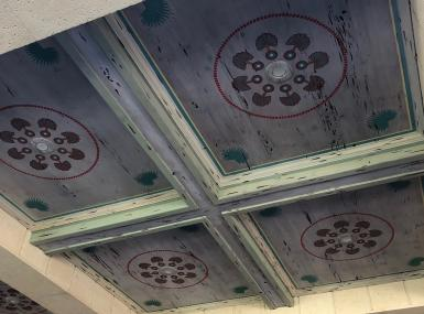 Distressed Painted Pecky Cypress ceiling in Palm Beach