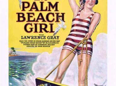 1926 film poster woman in striped one-piece water waterskis on wood board