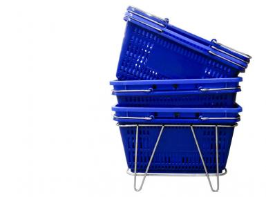 Metal rack with blue plastic shopping baskets