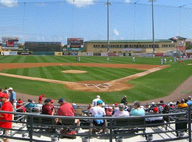 Panoramic view of Roger Dean Stadium baseball diamond and spectators