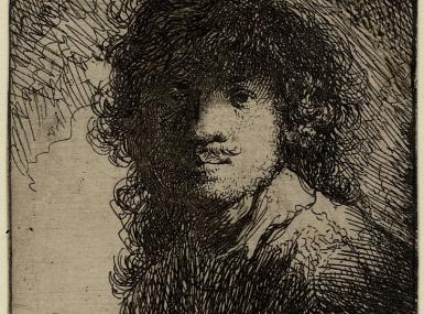 Black and white line etching self portrait Rembrandt circa 1629