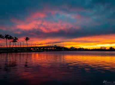 Vibrant orange and pink sunset over water with palm trees and bridge