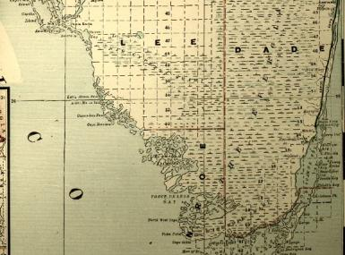 1890 Map of South Florida from Lake Okeechobee to the Keys