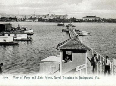 Ferry boat off dock in Lake Worth transporting people to Palm Beach island early 1900's