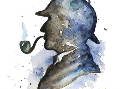 Black and navy watercolor silhouette of detective with deerstalker hat and pipe